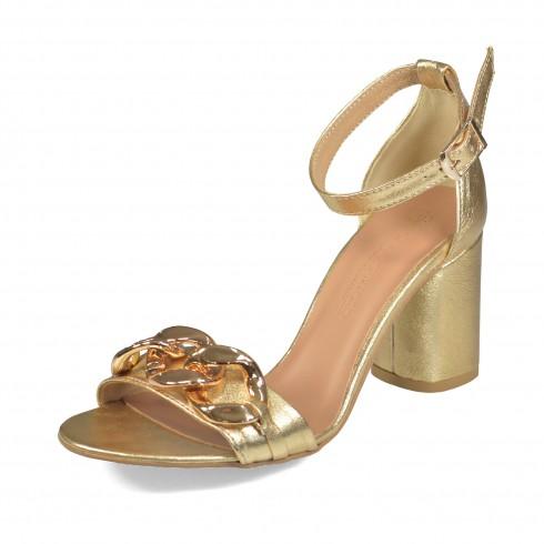 Złoty sandałek z okrągłym...