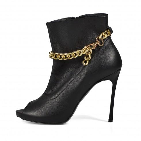 Czarny botek ze złotym...