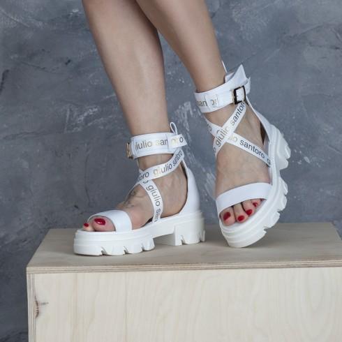 Biały sandałek z nadrukiem GS